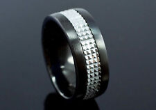 Two Tone Shine Stainless Steel Spin Ring MR089