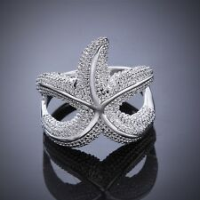 CJ HOT UNIQUE ATTRACTIVE SEA STAR STERLING SILVER-PLATED JEWELRY AND MEN RING