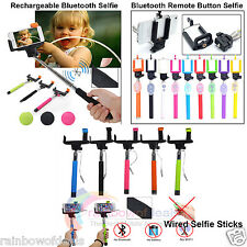 Handheld Monopod Selfie Sticks Wired - Remote Shutter and Rechargeable Bluetooth