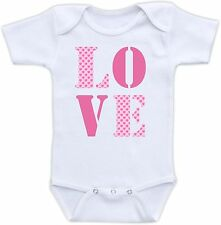 Love Cute Baby Onesie Funny Onsie Clothing Awesome Shower Gift Heart Pattern