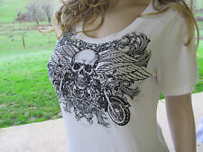 Plus Size Skull Crystals Stones Wings White Tee Shirt Biker Chic Sexy 1X 2X 3X