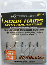 Korum Hook Hairs with Quickstops  barbless = all sizes