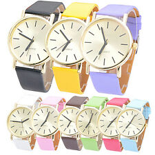 Women's Men's Fashion Geneva Faux Leather Band Quartz Analog Sports Wrist Watch