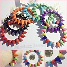 SPIKE Stud Stone Howlite Punk Rock Fashion Stretch Bracelet - 1 Pc Choose Color
