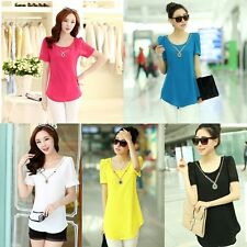 New Summer Womens Lady Chiffon Short Sleeve Casual T-Shirt Blouse Tops+Necklace