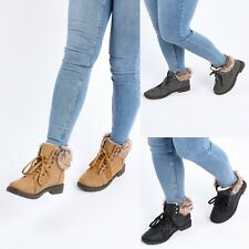GIRLS BOYS BOOTS CHILDRENS WINTER FUR LINED WARM TRAINERS SHOES