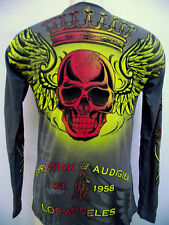 CHRISTIAN AUDIGIER ED HARDY MENS PLATINUM GRADIENT  SKULL  SHIRT GRAY FOIL