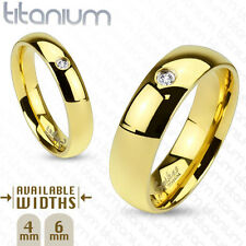 Titanium Gold Glossy Finish w/CZ,4mm or 6mm Wedding Band Ring,Sizes 4.5-13(4373)