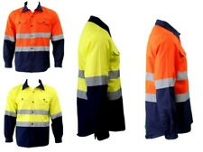 Hi-Vis Safety Workwear 100% Cotton Shirt Vented Long Sleeve w/ Reflective Tape