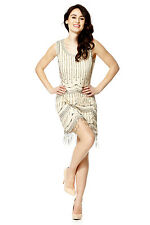 Beige Vintage 1920s Flapper Gatsby Downton Abbey Fringe Beaded Dress Size 8-18