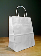 8x4x10 (approximate) White Paper Cub Shopping Gift Bags with Rope Handles