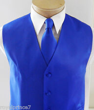 ROYAL BLUE MEN'S Solid Tuxedo Vest Waistcoat and Neck tie Prom Wedding Party 10I