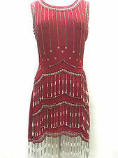 Red Vintage 1920s Flapper Gatsby Downton Abbey Fringe Beaded Dress Size 8-18