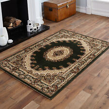 NEW ELEGANT TRADITIONAL CLASSIC GREEN COLOUR SMALL MEDIUM LARGE EXTRA LARGE RUGS