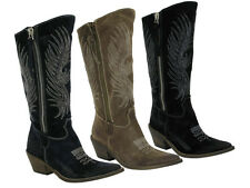 Ladies Womens Leather Block Heel Cowboy Riding Mid Calf Boots Shoes Size 3-8