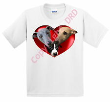 Kids T shirt Childrens Tee, Whippet Dogs in a Heart, Gift UK, Whippets & Puppy