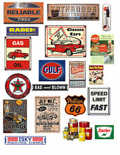1:18 GARAGE SIGNS 2 DECALS FOR DIECAST & MODEL CAR DIORAMAS