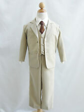 Boy Infant Toddler Teen Khaki/Taupe/Ivory with color long tie formal suit party