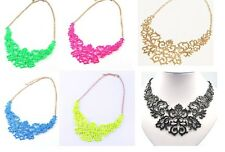 Hot Fashion Women High Quality Hollow Metal Bib Necklace Party/Club 6 Colors