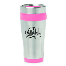Stainless Steel Insulated 16oz Travel Mug Coffee Cup Volleyball Calligraphy