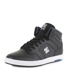 MENS DC SHOES NYJAH HIGH TOP BLACK GREY BLUE LEATHER SKATE TRAINERS SIZE