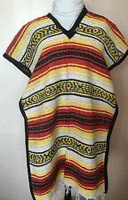 AUTHENTIC MEXICAN BLANKET PONCHO ONE SIZE COWBOY CLINT FALSA  ASSORTED COLORS