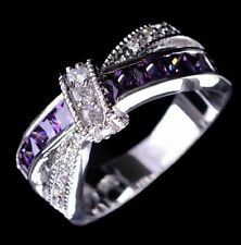 AMETHYST SAPPHIRE 10KT WHITE GOLD LADIES RING SIZES 6 7 8 9 SHIPS FROM USA