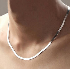 Men Women 925 Sterling Silver Plated 4MM Snake Pendant Necklace Chain Jewelry !