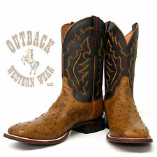 Lucchese Since 1883 Tan Burnished FQ Ostrich Boots M1613