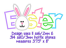 Kids EASTER Bunny Outline Rhinestone Iron On Transfer or Pre-Cut Flock Template