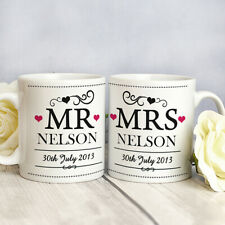 Personalised Couple Mug Set Wedding Gift Bride and Groom Mr & Mrs Anniversary