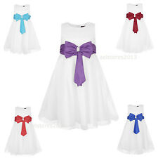 Girls Party Dress Bridesmaid Wedding Formal Bow Size Dress Age 2 3 5 7 9 11 13