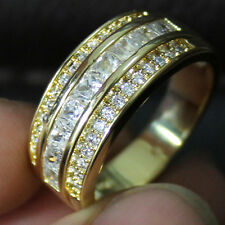 Size 8-13 NICE Mens Jewelry White Sapphire 10KT Yellow Gold Filled Band Ring HOT