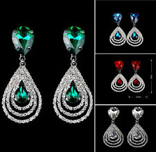 Womens Sparkling Crystal Teardrop Dangle Drop Studs Rhinestone Hoop Earrings @@