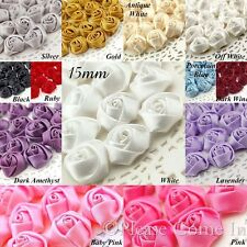 25pcs Satin Roses Rosettes Fabric Flower 15mm/ 20mm/ 30mm/38mm/45mm