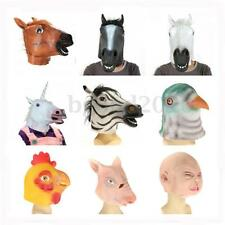 Full Head Animal Mask Latex Horse Pig Scary Halloween Prop Cosplay Party Costume