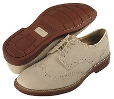 Bass Men's - All Sizes -Wingtip White Buck - Lace Oxford NuBuck Suede Shoe