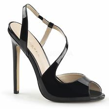 PLEASER High Heel Sling Back Strappy Sandal Patent Womens Shoes SEXY-10 Black