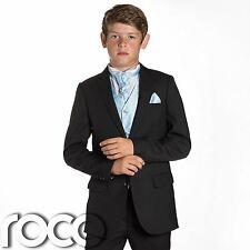 Boys Black Suit, Page Boy Suits, Prom Suits, Boys Wedding Suits, Blue Waistcoat