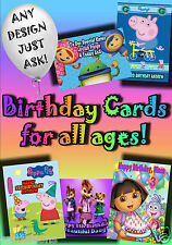 PERSONALISED birthday card. Large A5 size 100s of designs dora disney