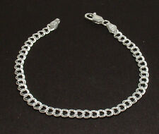 Solid Double Link Charm Bracelet 925 Sterling Silver 4mm FREE SHIPPING