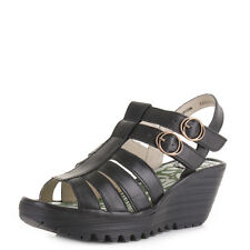 Womens Fly London Ygor Rug Black Leather Strappy Wedge Heel Sandals Shoe Size