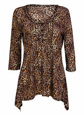Ex Chainstore Leopard Skin 3/4 Sleeve Scoop Neck Blouse Top Size 12-22