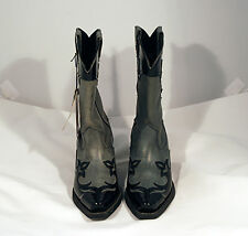 Awesome Pair of Ariat Gray Leather Upper with Black Patent leather Accents