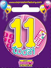 Pink Phone - 11 Today, Girls 11th Birthday Party / Birthday Badge