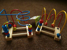 NEW WOODEN BEAD COASTER PUZZLE MAZE PRE-SCHOOL EDUCATIONAL COUNTING COLOURS