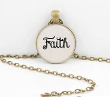 """Word Necklace, """"Faith"""" hand lettered font pendant necklace jewelry gift"""