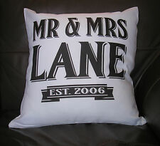 PERSONALISED WEDDING OR ANNIVERSARY GIFT LARGE CUSHION COVER EST TEXT FREE P&P