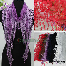 New Trendy Fashion Stylish Daisy  Floral Tulle Lace Trim Tassel Soft Long Scarf