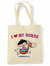I LOVE MY HORSE SHOULDER  SHOPPING BAG - Pony Riding Jumping Childrens Kids